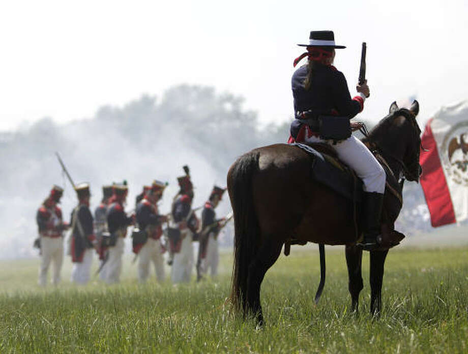 Hundreds of history reenactors recreate the events leading up to and including the Battle of San Jacinto.  This year marks the 175th anniversary of Texas' Independence. Photo: Karen Warren, Houston Chronicle