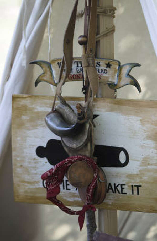 A detail on a tent in the Texian Army camp. Photo: Karen Warren, Houston Chronicle