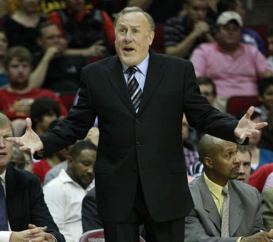 April 18, 2011    Adelman's stint with the Rockets ends. He compiled a 193-135 record in four seasons, yielding the best winning percentage (.588) of any coach in franchise history. Photo: Brett Coomer, Chronicle