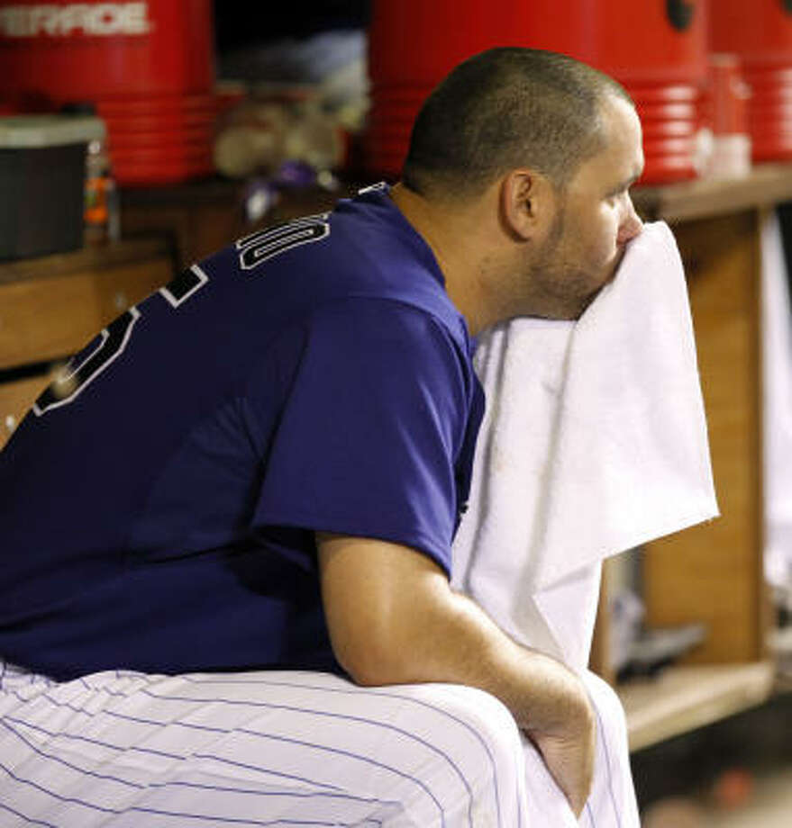 5. Fear of Felipe the Magnificent still on hold.Many fans thought the golden arm of Felipe Paulino would blossom with his trade out of Houston. But he quickly lost a chance to compete for the Rockies rotation and has a 9.00 ERA in relief. Photo: Ed Andrieski, AP