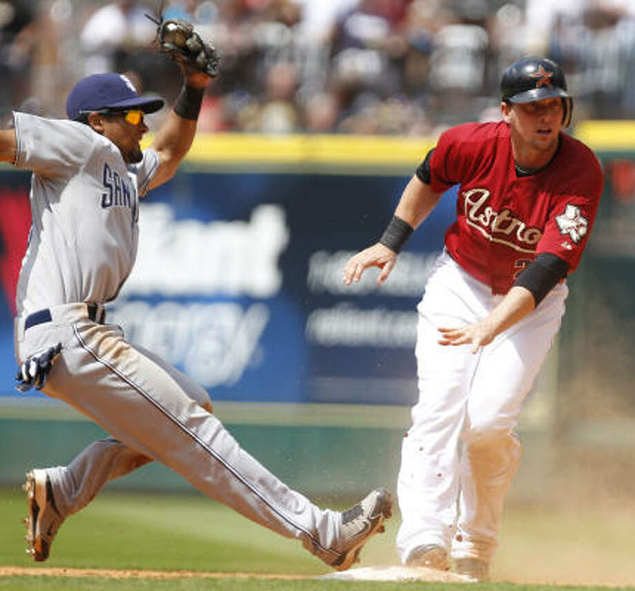 Astros third baseman Chris Johnson watches an umpire call him out at second. Photo: Cody Duty, Chronicle