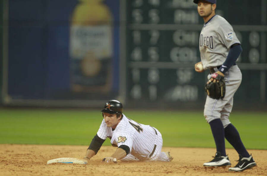 Astros Bret Wallace is tagged out by San Diego Padres Orlando Hudson in the bottom of the 9th inning