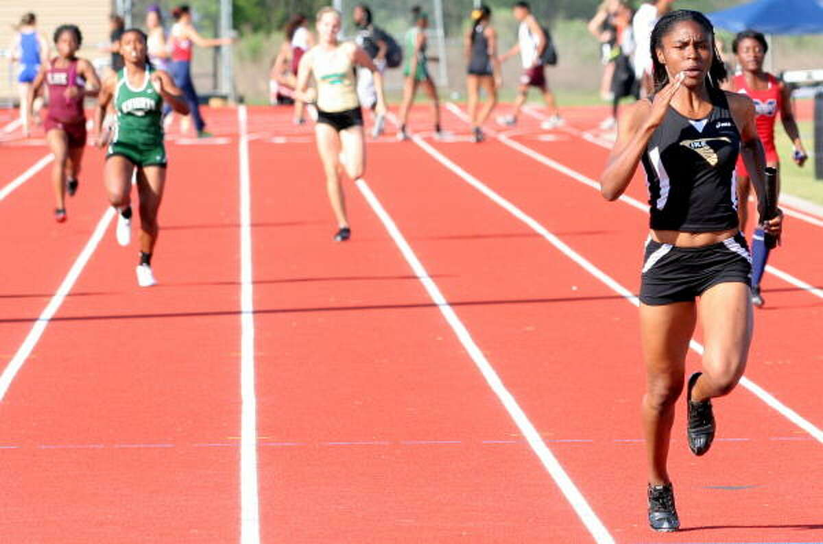 Eisenhower's Daisa McCullen left no doubt as to which team would win this heat in the 400-meter relay.