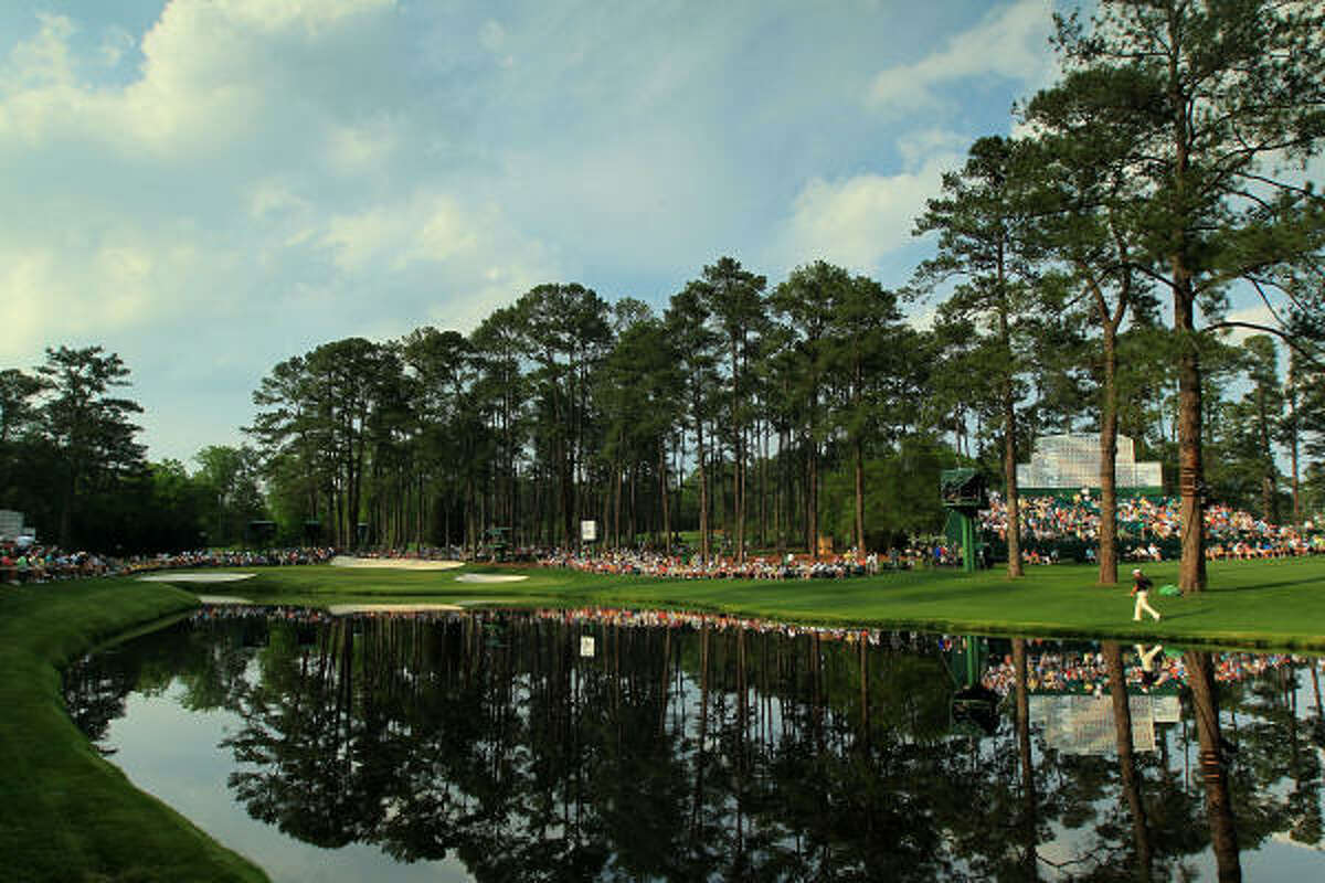 A general view of the play at the 16th hole during the second round of the 2011 Masters Tournament.