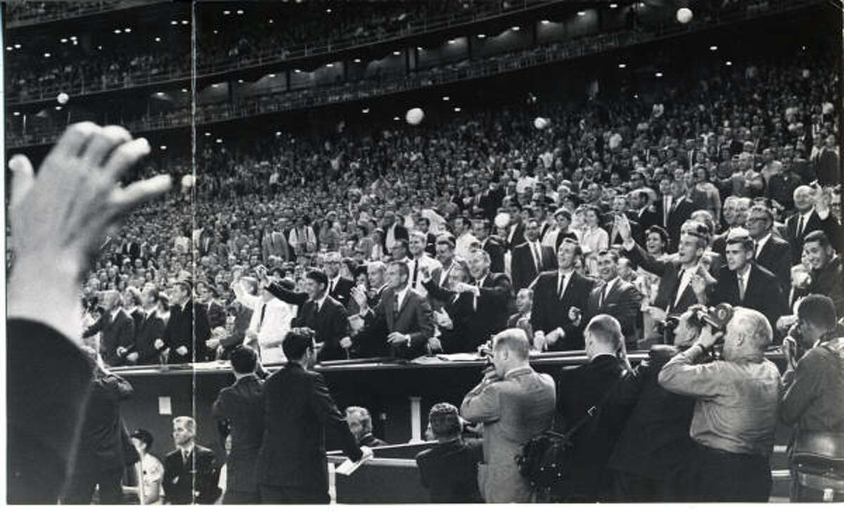 April 9, 1965: Grand opening The Eighth Wonder of the World, originally called the Harris County Domed Stadium, took less than three years to build for $35 million and was ready six months ahead of schedule.The ceremony drew a crowd of 47,879, including President Lyndon B. Johnson and his wife, Lady Bird. Texas Gov. John Connally threw out the first ball for the first-ever indoor baseball game.Although Mickey Mantle scored both the first hit and the first home run in the Astrodome, the Astros beat the Yankees, 2-1, that night.