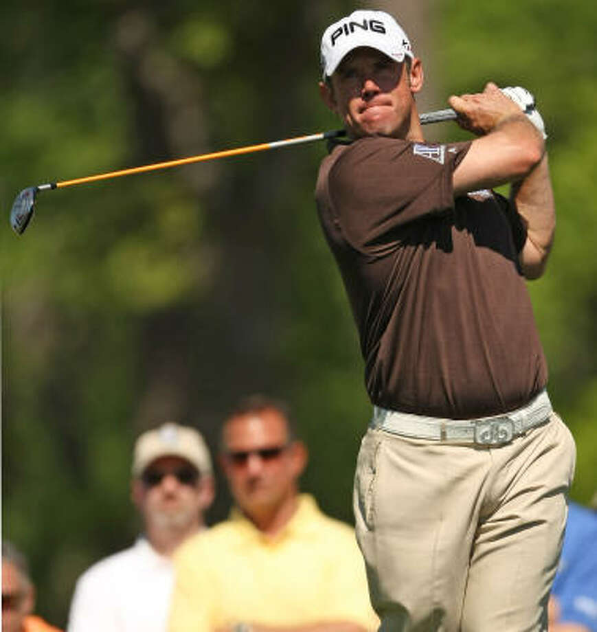 March 31: second roundLee Westwood eyes his tee shot on No. 11. Photo: ERIC CHRISTIAN SMITH, For The Chronicle