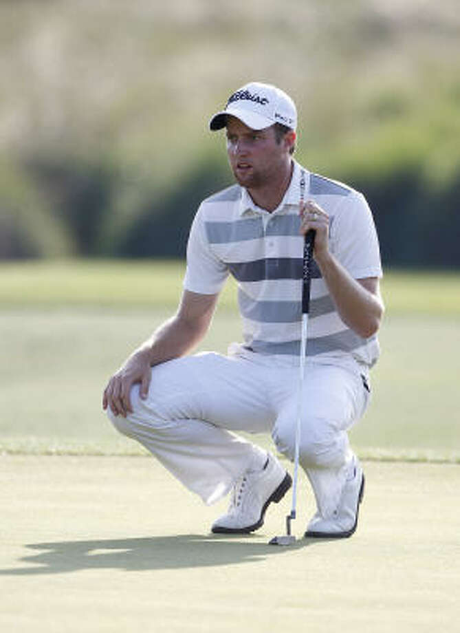 Chris Kirk lines up a putt during the first round of the Shell Houston Open. Photo: Michael Cohen, Getty Images