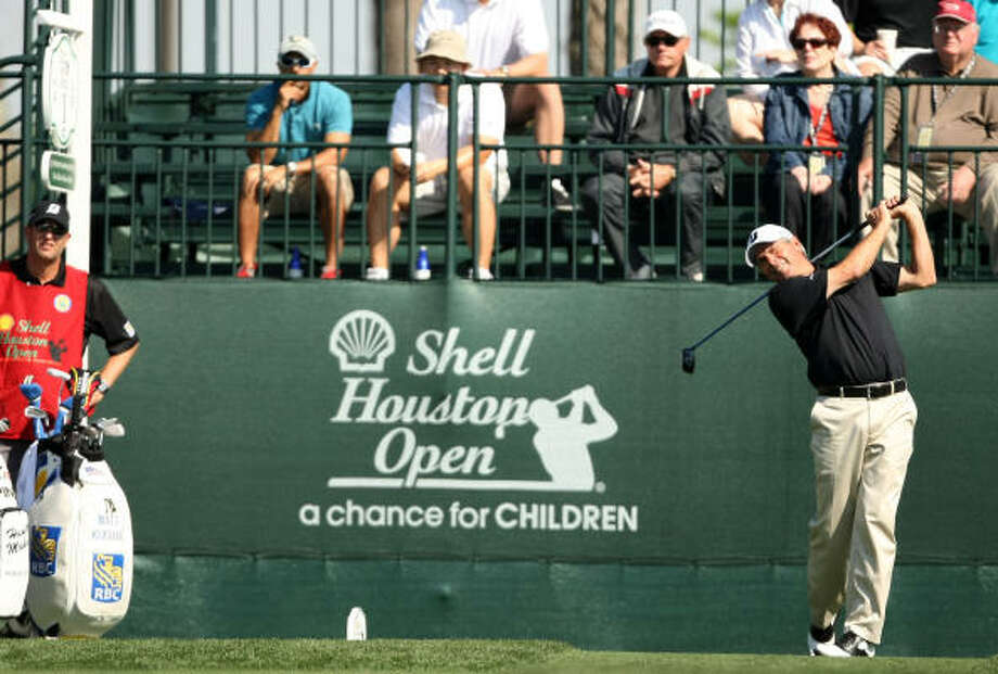 Fred Couples tees off on No.1 to get his tournament under way. Photo: ERIC CHRISTIAN SMITH, FREELANCE