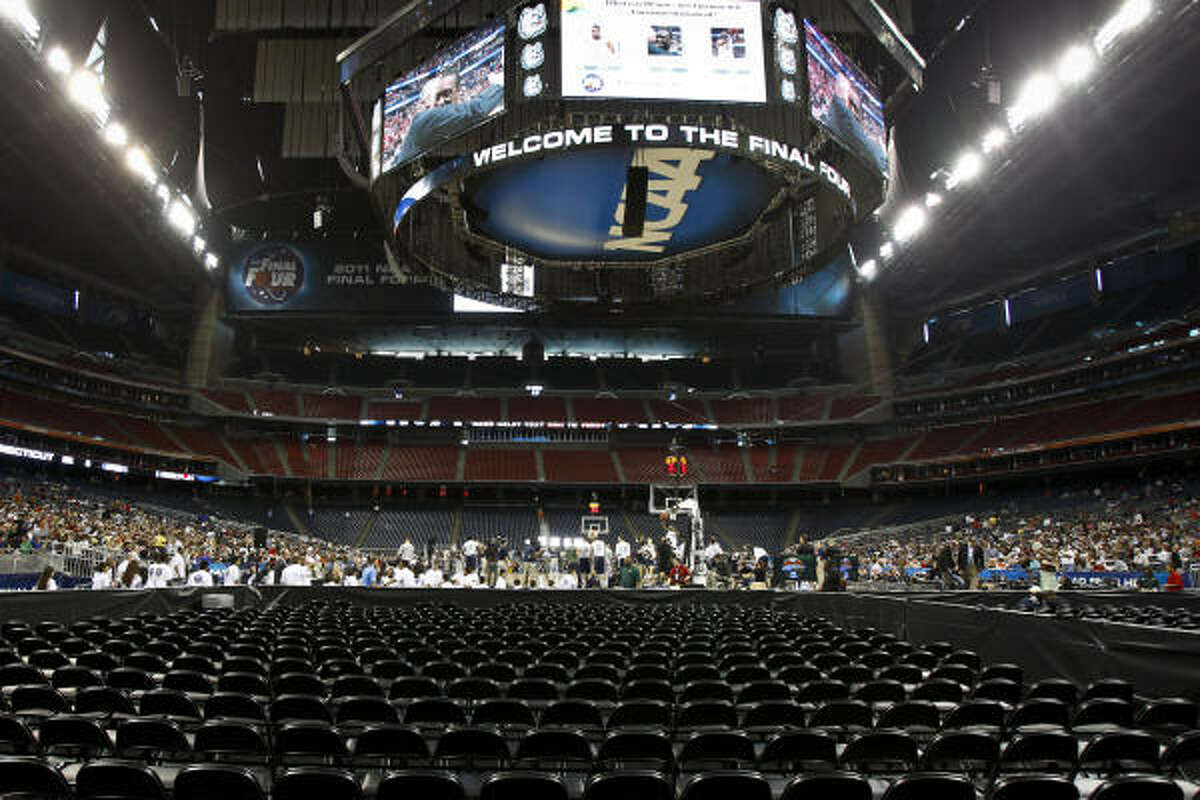 A view from the seats in the band section at Reliant Stadium before the Final Four.