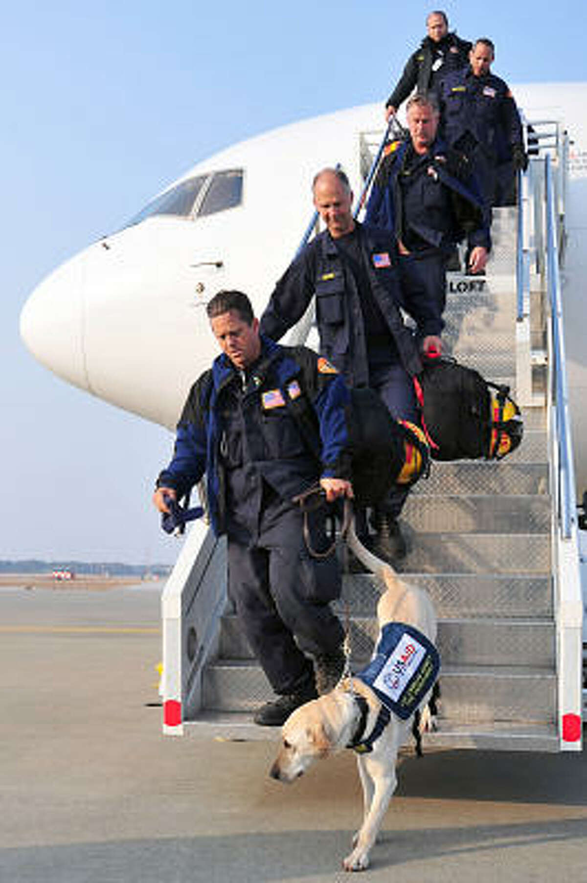 United States Agency for International Development search and rescue dogs along with their handlers arrive March 13 at Misawa Air Base, a United States Air Force installation.