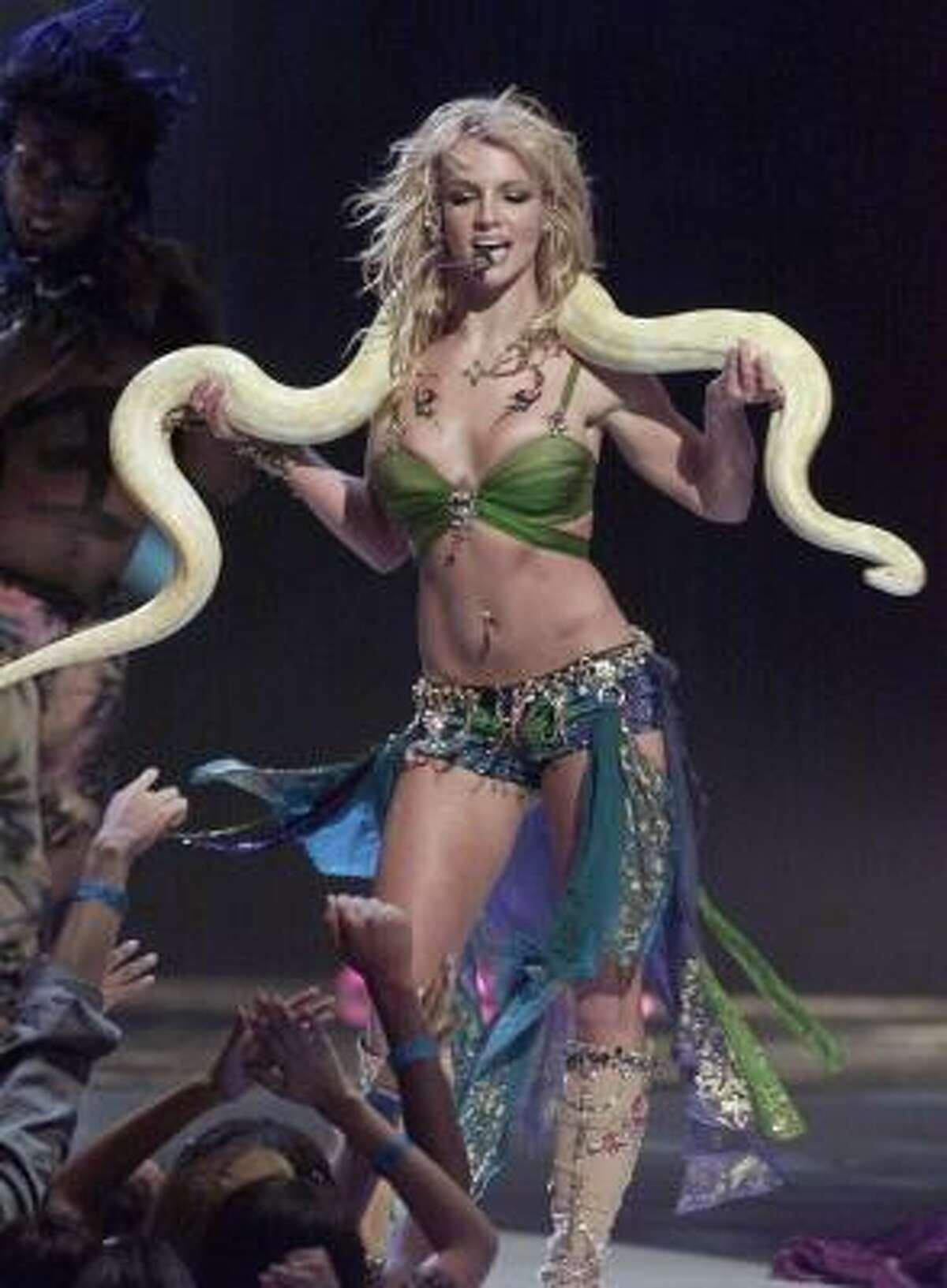 2001: Spears performed with a snake draped over her shoulders at the MTV Video Music Awards in New York City.