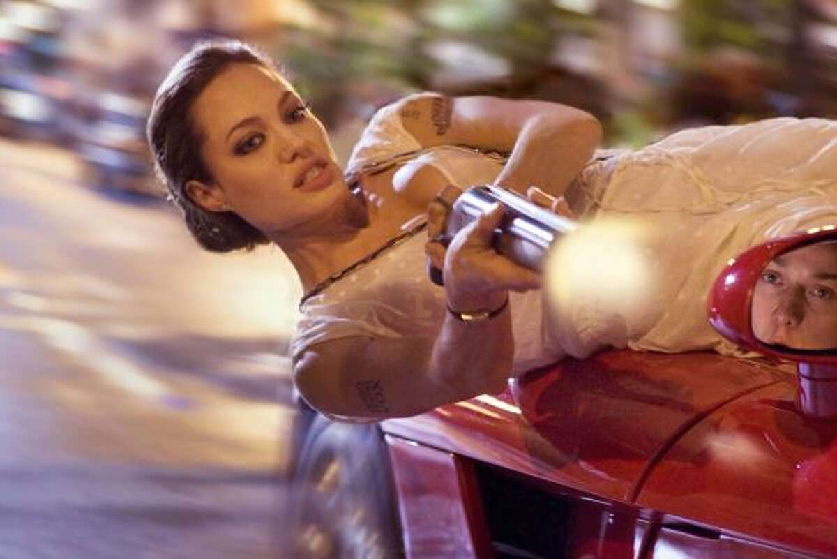 Fox, played by Angelina Jolie, in Wanted.