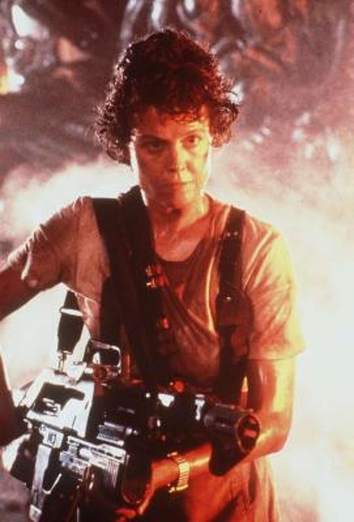 Sigourney Weaver plays Ripley in the Alien anthology.