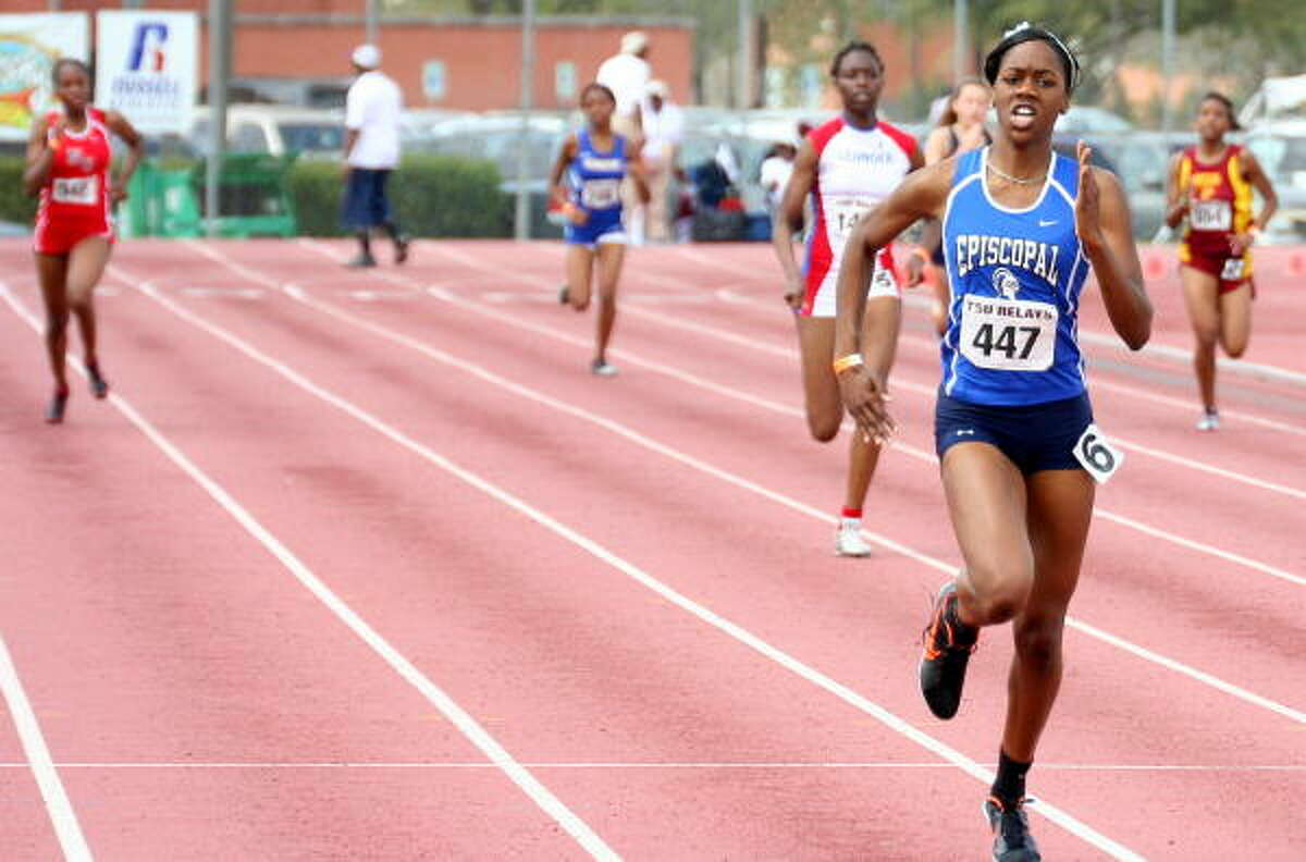 Episcopal's Chioma Nwanko puts some distance between herself and her competitors in the 400 meters.