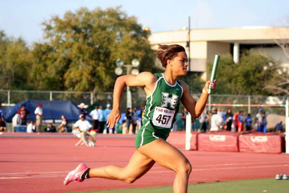 Hightower's Sandra Morgan flashes her speed in a relay.
