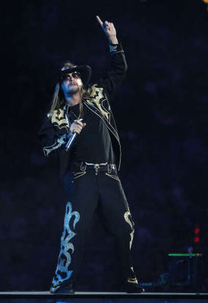 Kid Rock performing at the Houston Livestock Show and Rodeo at Reliant Stadium Monday, March 14, 201