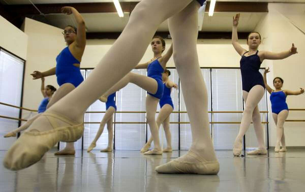 Girls ages 10 to 12 practice at the Ballet Center of Houston in northwest Houston.