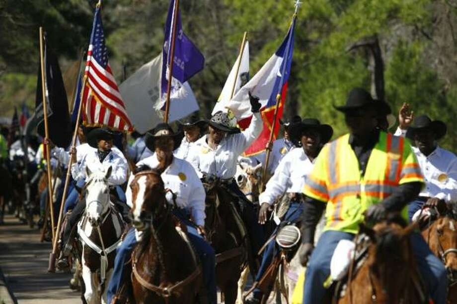 Southwestern Trail Riders arrive at Memorial Park Friday Feb. 25, 2011. Photo: Michael Paulsen, Chronicle