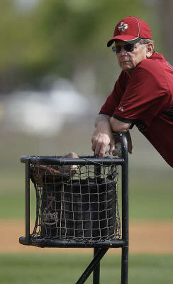 Former major-league pitcher Burt Hooton watches live batting practice from behind the mound. Photo: Karen Warren, Chronicle