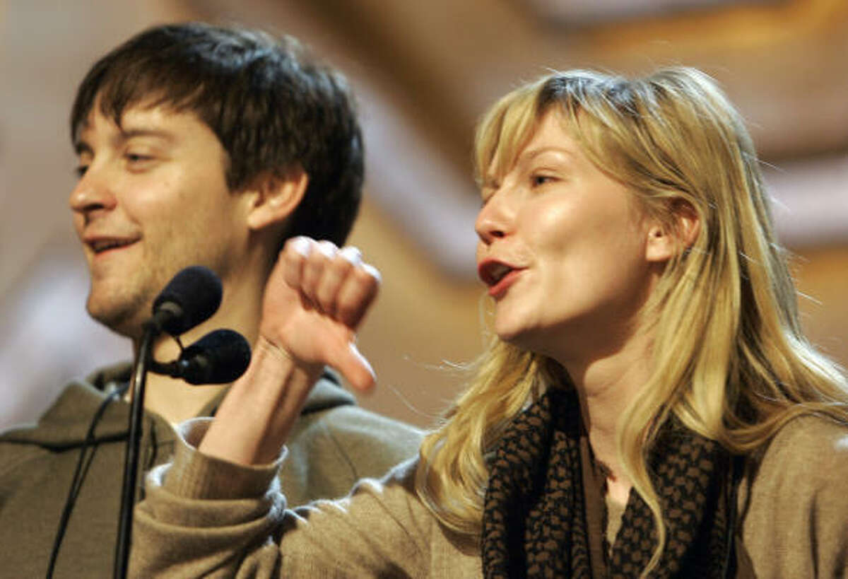 Before: These two look like they haven't had much sleep. Tobey Maguire and Kirsten Dunst rehearse for the 79th Academy Awards.