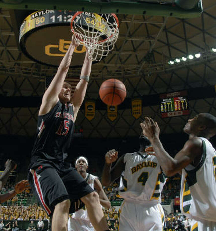 Texas Tech 78, Baylor 69Texas Tech's Robert Lewandowski dunks over Baylor's Quincy Acy, center, and LaceDarius Dunn in the second half. Photo: Rod Aydelotte, AP
