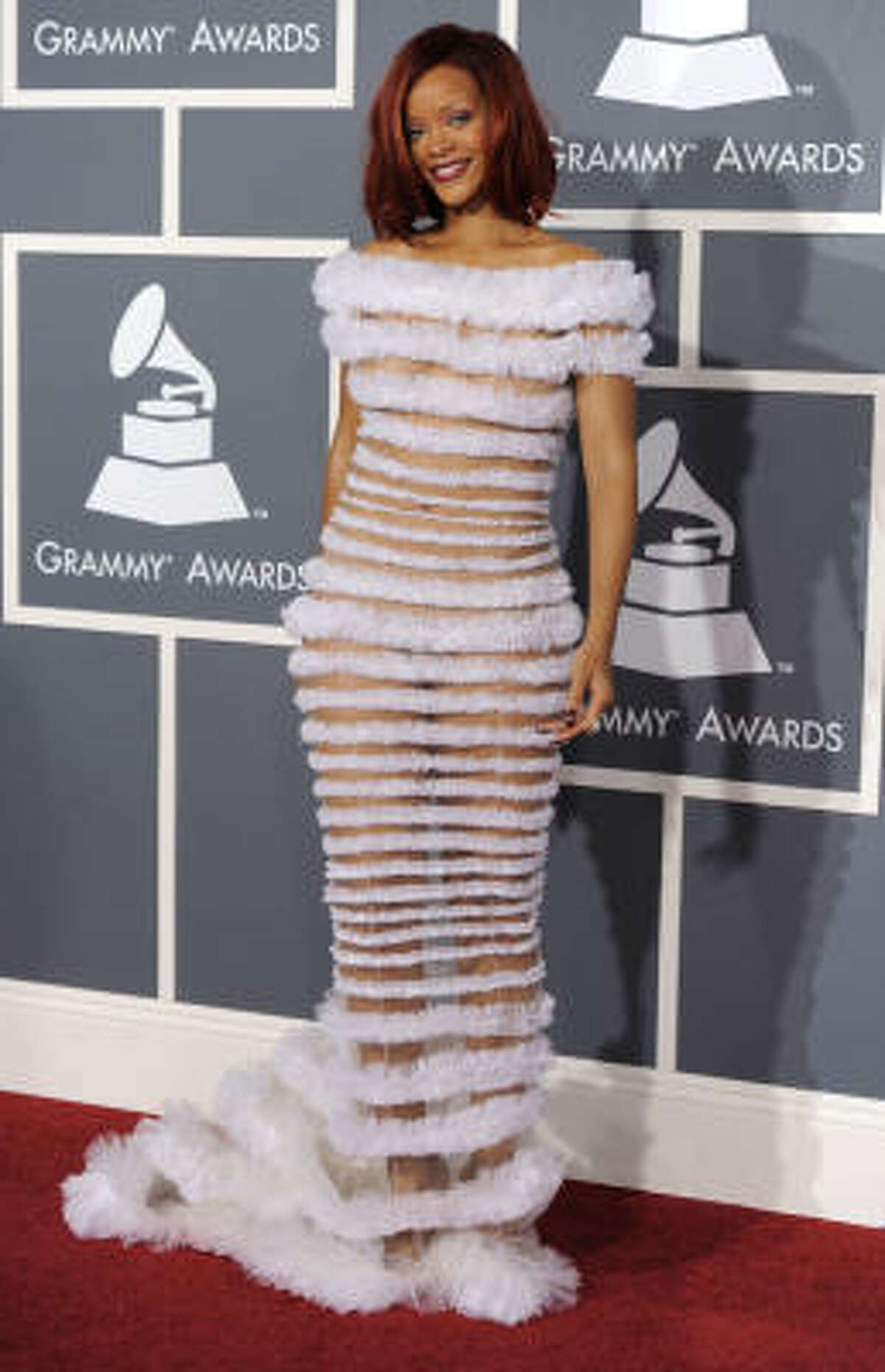 Rihanna in Jean-Paul Gaulthier. She shows it all, she shows it not.