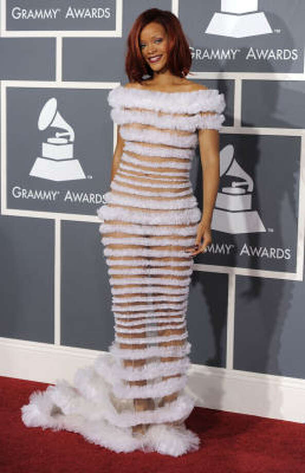 Rihanna in Jean-Paul Gaulthier. She shows it all, she shows it not. Photo: Chris Pizzello, AP