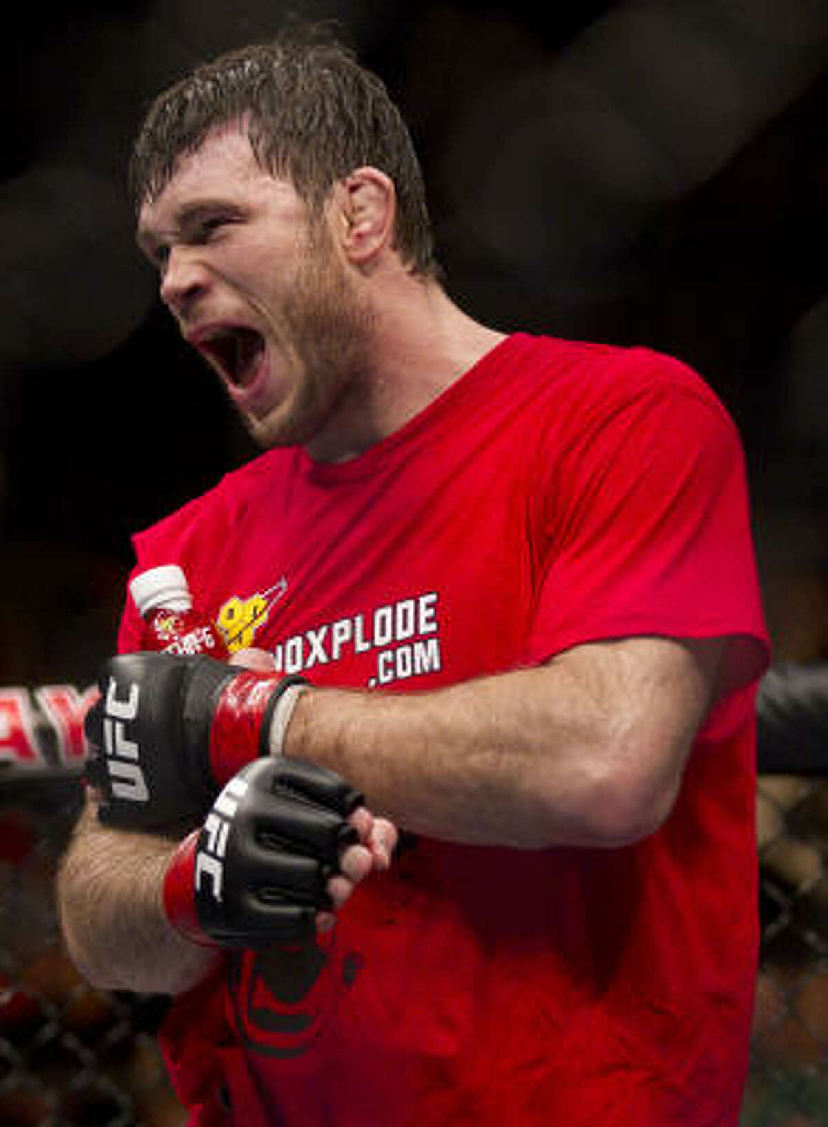 Forrest Griffin reacts after being announced the winner against Rich Franklin by unanimous decision.
