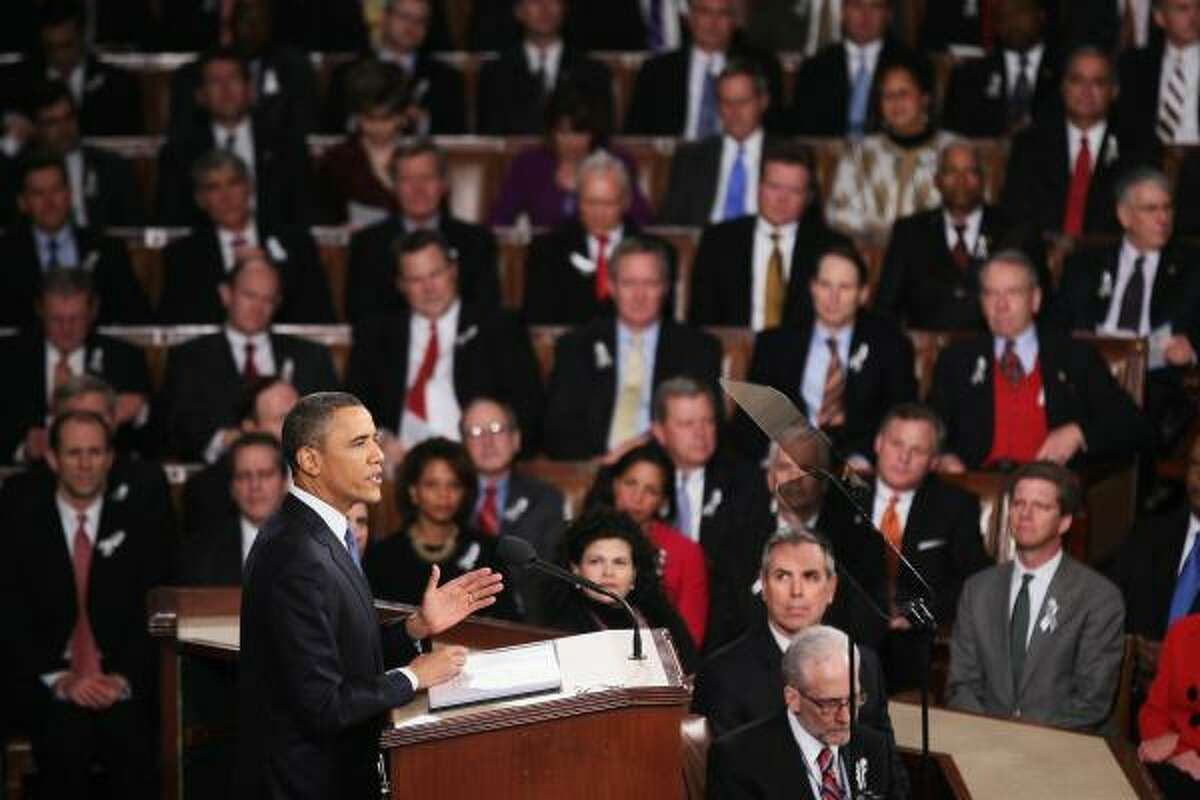 President Barack Obama addresses a joint session of Congress while delivering his State of the Union speech Tuesday.