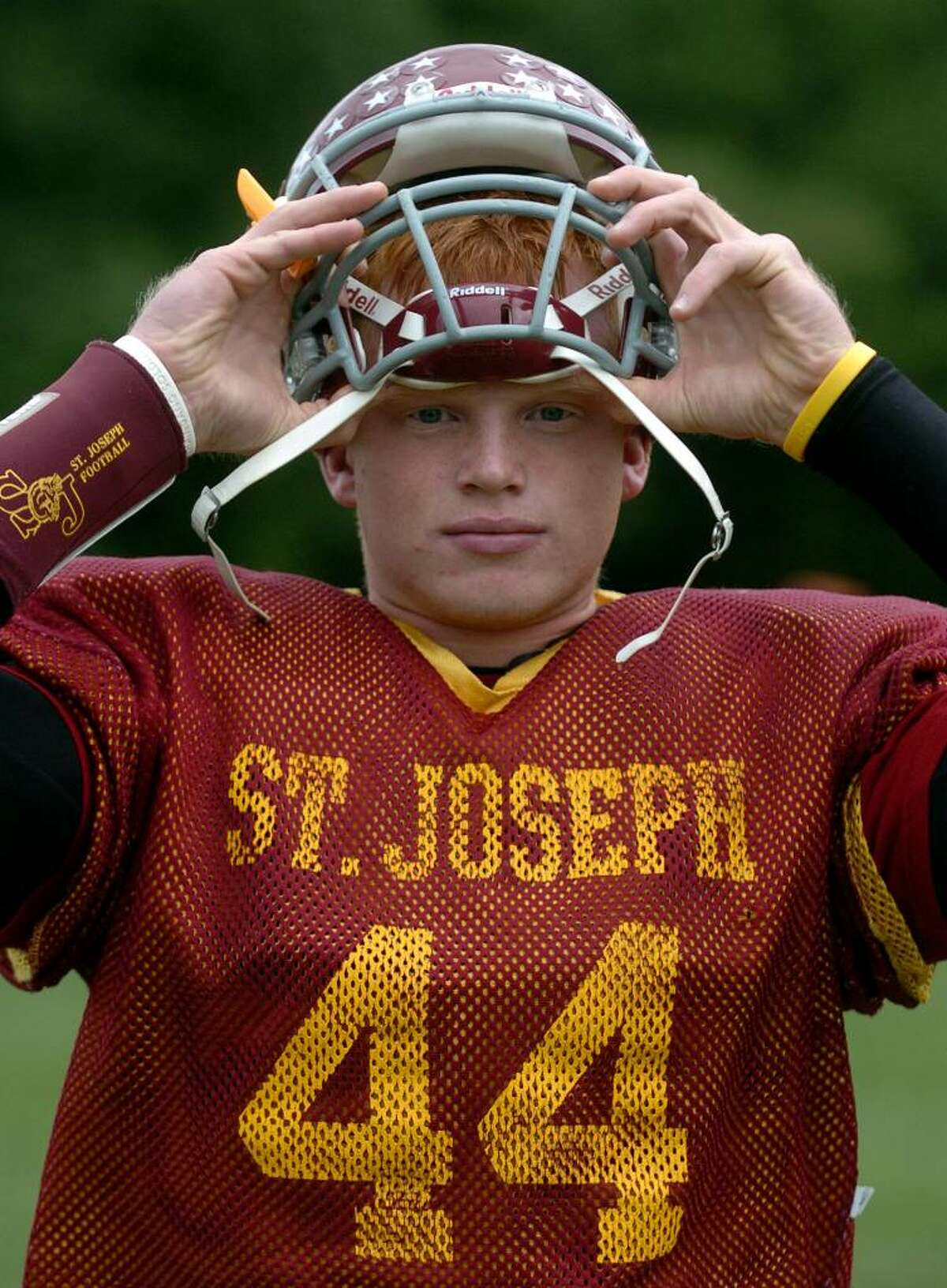 Tyler Matakevich at St. Joseph's football practice in Trumbull, Conn. on Wednesday Sept. 30, 2009.