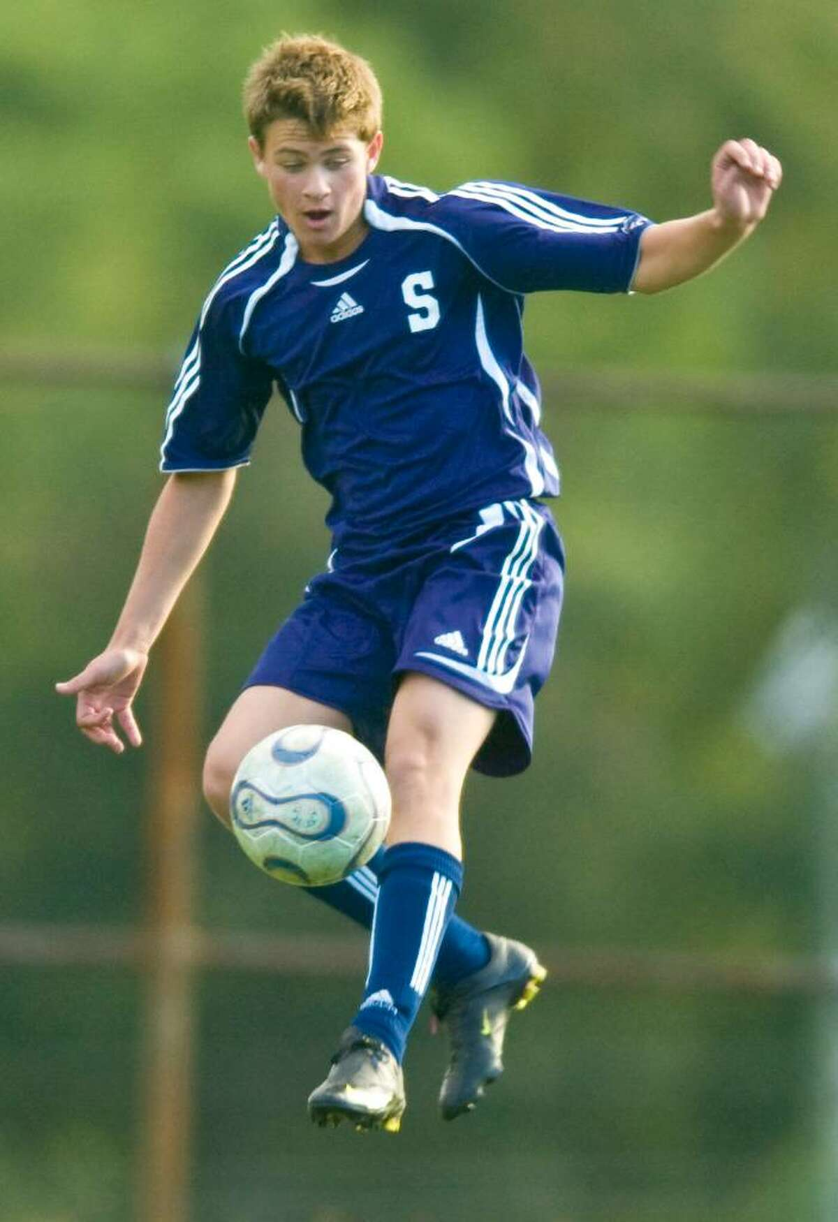Staples' Greg Gudis during an FCIAC boys soccer match at Stamford High School in Stamford on Thursday, Oct. 1, 2009.
