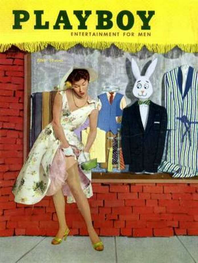 Mr. Playboy ogles Donna Kime from the window on this June 1955 cover.