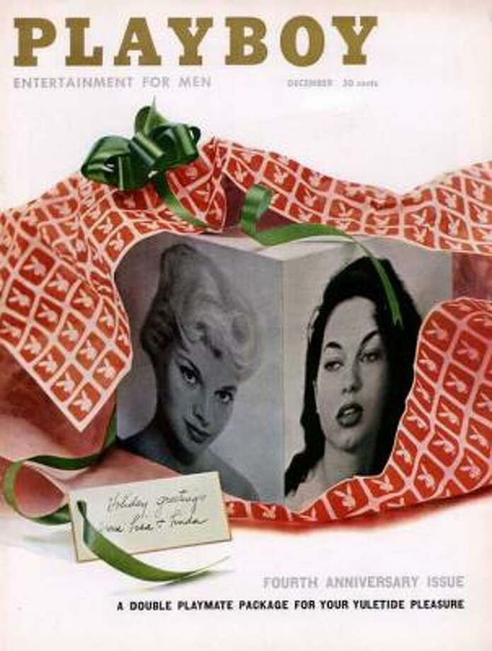 Linda Vargas and Lisa Winters are unwrapped on the cover of the Fourth Anniversary issue. December 1957.