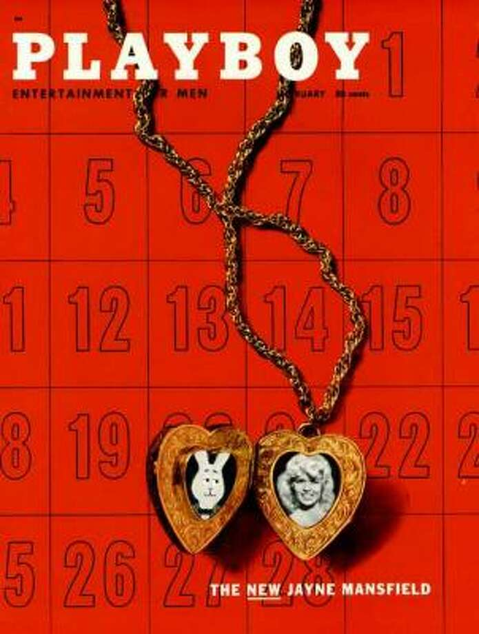 Jayne Mansfield and Mr. Playboy share a locket on the cover of the February 1957 issue.