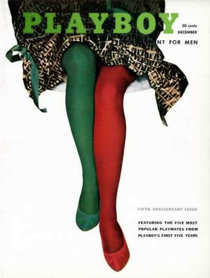 Mary Foley's legs show their holiday spirit. December 1958.