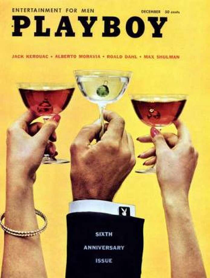 Unknown models raise a glass to the sixth anniversary issue. December 1959.