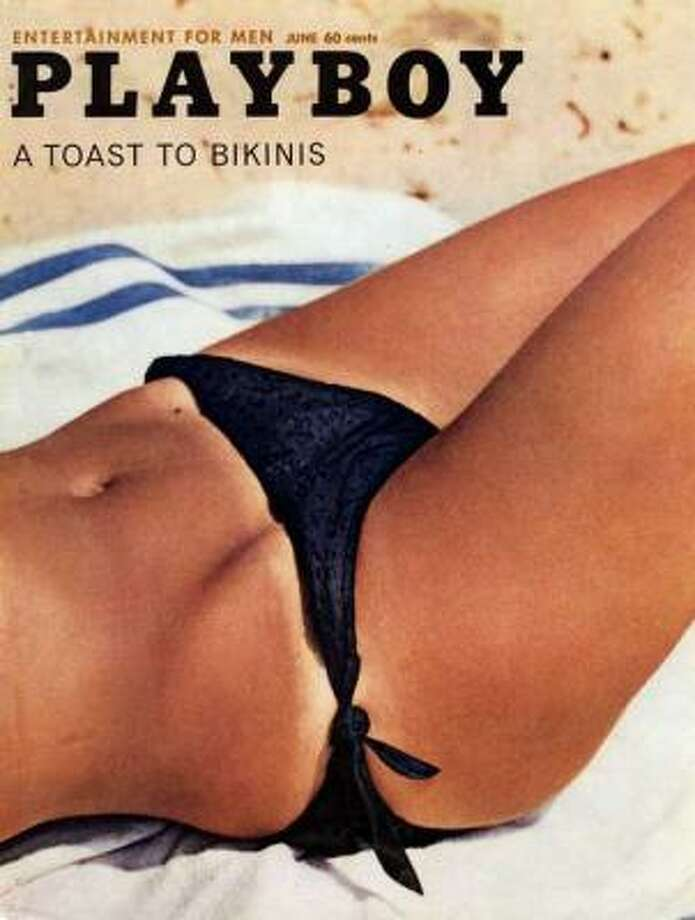 This bikini tan line on Merissa Mathes became an iconic cover image. June 1962.