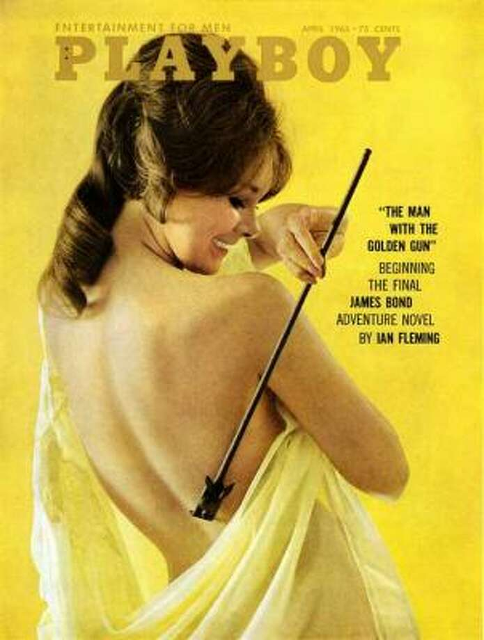 "Lannie Balcom on the cover of an issue that featured Ian Fleming's novel ""The Man With the Golden Gun."" April 1965."
