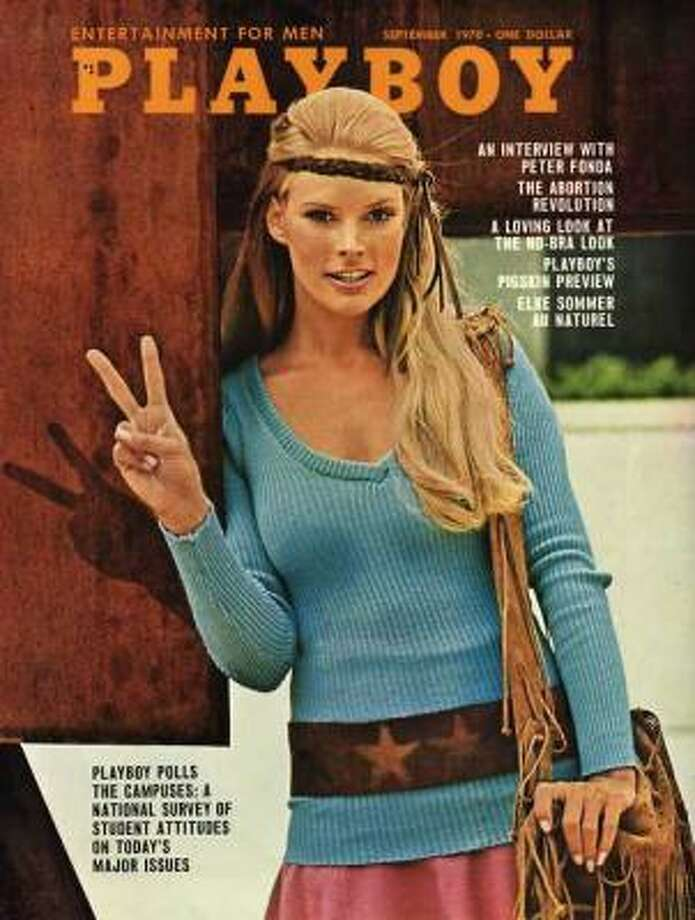 Elke Sommer promoting peace and free love. September 1970.