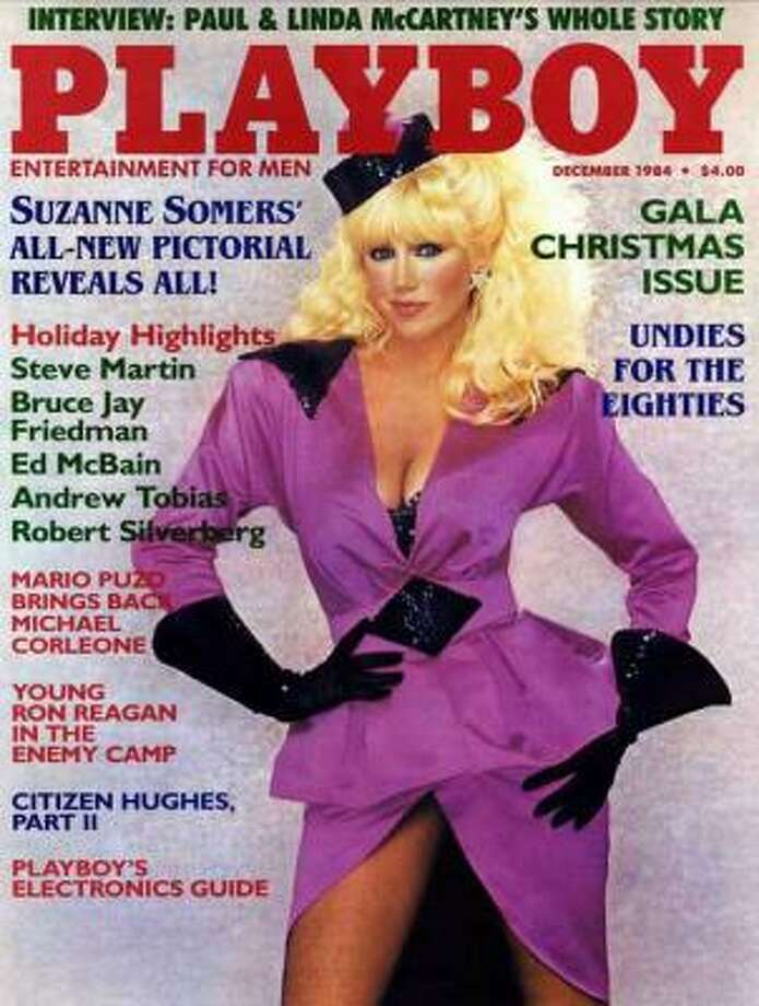 Suzanne Somers poses on the cover of the Gala Christmas issue. December 1984.