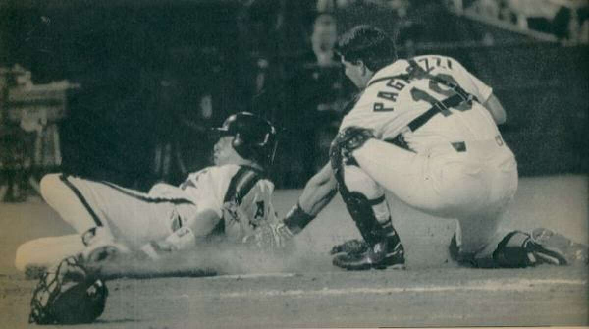1993: Jeff Bagwell is tagged out by St. Louis catcher Tom Pagnozzi on May 4, 1993. Bagwell had been trying to score from first on an Eric Anthony double.