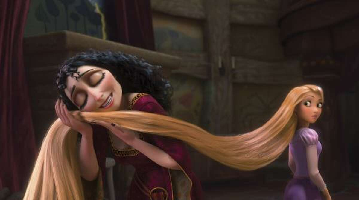 Tangled , $10.01 million: Rapunzel, a princess with 70-feet of enchanted hair, is rescued from her tower and goes on an adventure. Voices by Mandy Moore and Zachery Levi.