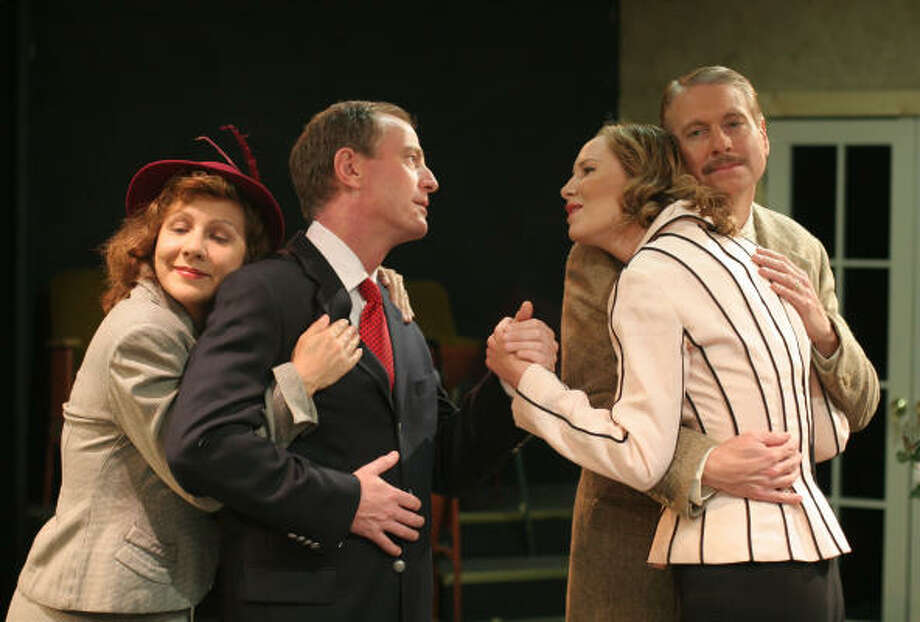 Sybil (played by Rebecca Bivens), from left, Elyot (played by David Downing), Amanda (played by Doris Davis), and Victor (played by Fritz Dickmann) in Main Street Theater's production of Noel Coward's classic comedy Private Lives. Photo: Gary Fountain, For The Chronicle
