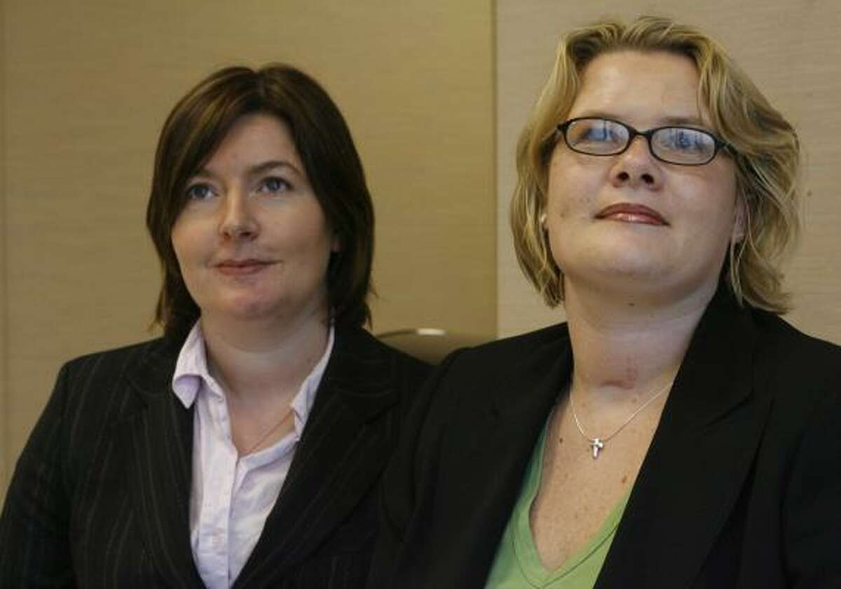 """Amanda """"Mandy"""" Holland and Samantha Moore sit outside a courtroom in the Harris County Criminal Justice Center in this 2006 file photo. The twosettled a lawsuit with a Houston plastic surgeon over injuries suffered in a crash near the Galleria."""