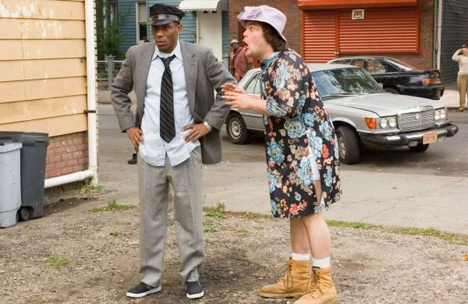 """Mos Def, left, stars as Mike and Jack Black is Jerry as they """"Swede"""" Driving Miss Daisy in Michel Gondry's Be Kind Rewind. Photo: ABBOT GENSER, NEW LINE CINEMA"""