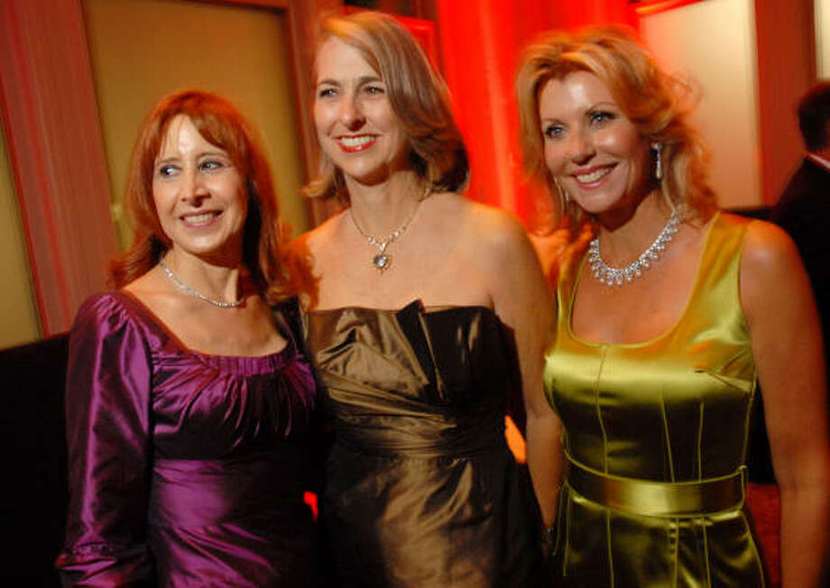 "Vicki West, from left, Susan Hansen and Susan Plank led the chorus of Houston Symphony supporters as chairs of the opening-night concert and gala, ""Beethoven Rocks,"" which included the Jones Hall concert and dinner at the Corinthian. Photo: Dave Rossman, For The Chronicle"