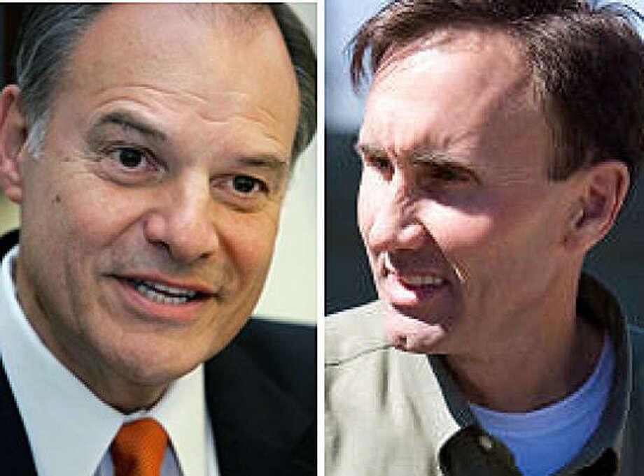 Left, Democratic U.S. Rep. Nick Lampson. Right, Republican Pete Olson.