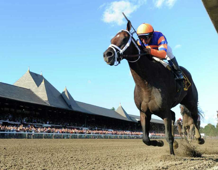 Belmont Stakes runner-up Stay Thirsty with jockey Javier Castellano runs away from the field to win the 48th running of The Jim Dandy at Saratoga Race Course in Saratoga Springs, N.Y. July 30, 2011.     (Skip Dickstein / Times Union) Photo: SKIP DICKSTEIN