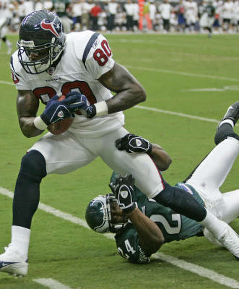 The Eagles shut down most of the Texans in Week 1, but not Andre Johnson. Photo: BRETT COOMER, CHRONICLE