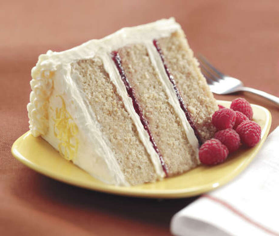 Lemon-Raspberry Cake made with whole weat pastry flour has a slightly grainy texture that pleases. Photo: JOHN SHERMAN, COUNTRYMAN PRESS - KING ARTHUR FLOUR